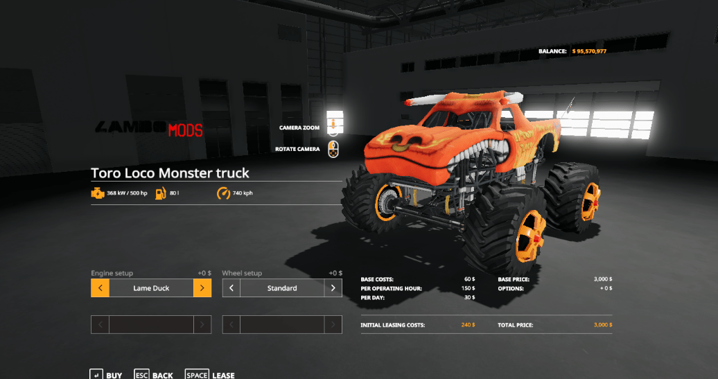 Monster Truck ToroLoco Mod - Farming Simulator 19 Mod / FS19