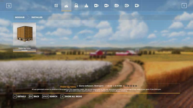 Purchasable Egg Pallet v1 0 4 0 Mod - Farming Simulator 19 Mod / FS19