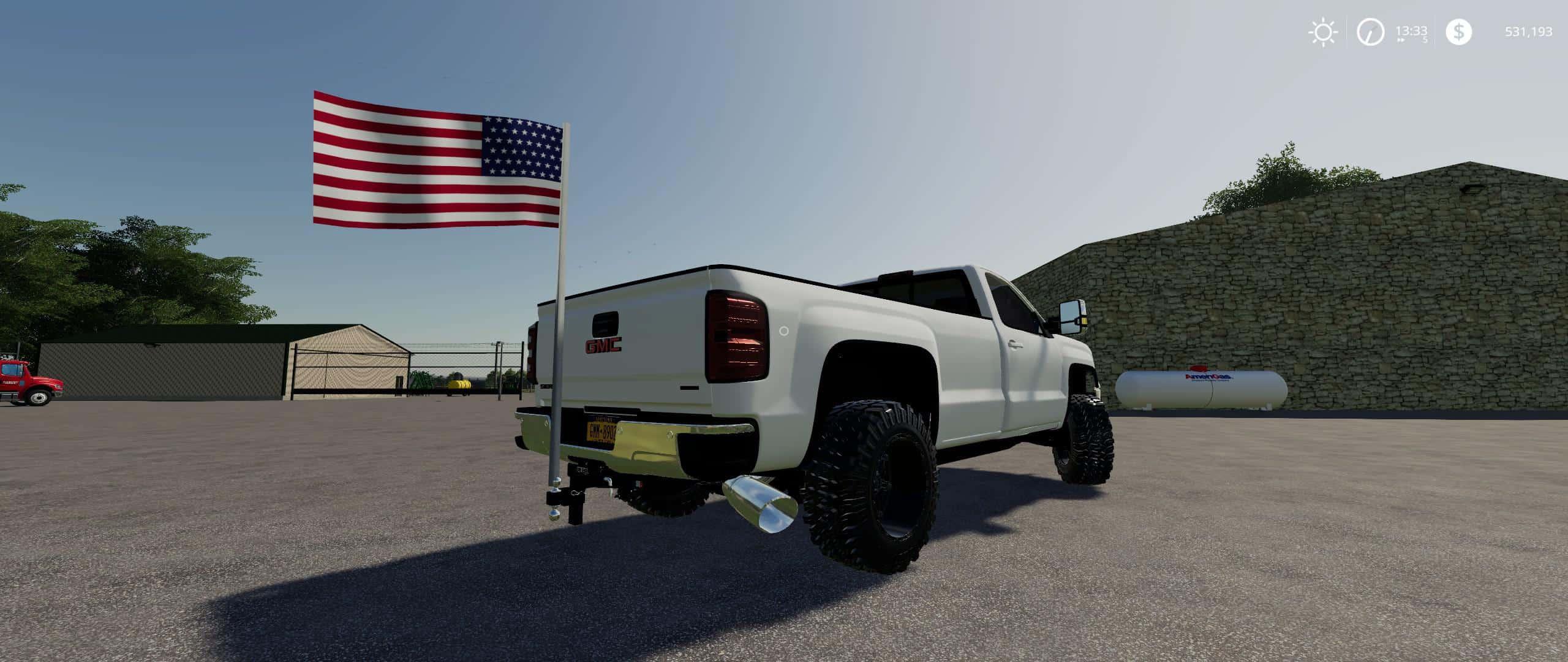 Hitch Mount American Flag v1 0 Mod - Farming Simulator 19